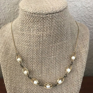 """Jewelry - Gold Plated Glass Pearl Necklace 24"""""""